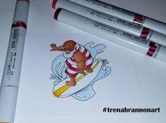 Day 2 #thedailymarker30day #trenabrannonart #copicmarkers #robertjackson #santa #surfing