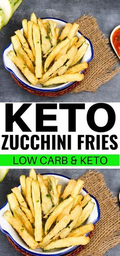 Keto zucchini fries made with almond flour for keto and low carb diets! These ke. - Keto zucchini fries made with almond flour for keto and low carb diets! These keto zucchini fries a - Zucchini Chips, Fried Zucchini Recipes, Zucchini Pommes, Low Carb Diets, Low Carbohydrate Diet, Ketogenic Recipes, Ketogenic Diet, Low Carb Recipes, Diet Recipes
