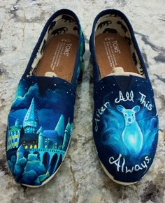 harry potter painted shoes | ... to Order Custom Painted TOMS Harry Potter Doe Patronus/Fawkes Shoes