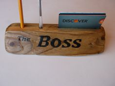 """Desk Nameplate for home or office """"The Boss"""" made from driftwood holds business cards' pen and pencil - desk organizer, credit card holder by Driftinn on Etsy"""