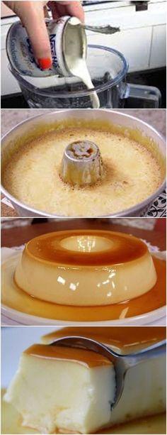 Ingredientes 6 colheres (sopa) de açúcar 3 ovos 1 lata de leite condensado 1 lata (use a de leite condensado) de leite Modo de preparo Obs.: Esta receita requer tempo para cozinhar e gelar. Caramelize uma fôrma de cone central (20 cm de diâmetro) com o açúcar em fogo médio, espalhando por todo o interior.…