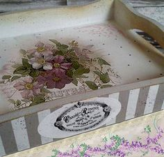 Decoupage Box, Decoupage Vintage, Mosaic Tray, Arts And Crafts, Diy Crafts, Pintura Country, Decorating Coffee Tables, Painting On Wood, Shabby