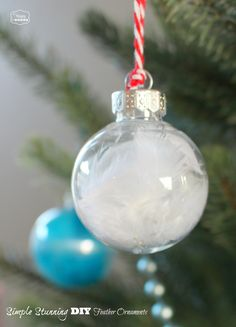 Simple Stunning DIY Christmas Clear Ball Feather Ornaments