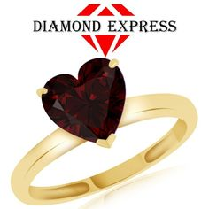 """1.71 Ct Heart Shape Red Garnet Solitaire Ring 14K Gold """""""". Starting at $89"""