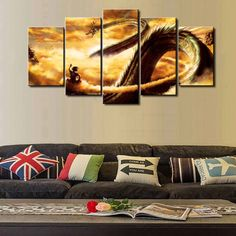 New Hot Sel 5 Piece Modular Home Decor Wall Art Dragon Ball Cuadros Canvas Wall Art Home Decor For Living Room no frame >>> You can find out more details at the link of the image. #HomeDecor