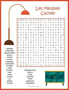 French Word Search Puzzle: Les Meubles A word search puzzle for French language students featuring furniture vocabulary. Puzzlers will have to look in all directions for the hidden words and there are some words. French Language Lessons, French Language Learning, French Lessons, Grammar Lessons, Writing Lessons, Spanish Lessons, Spanish Language, Sign Language, How To Speak French
