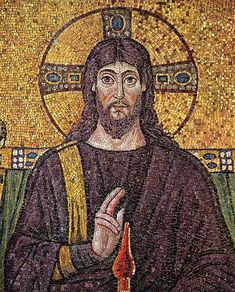 6th century mosaic icon portrays Jesus long-haired and bearded, dressed as a Byzantine emperor, Ravenna