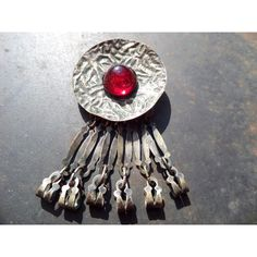 Pin Brooch,Cooper Brooch,Red Brooch,Red Cabochon Brooch,Red Cabochon... (€21) ❤ liked on Polyvore featuring jewelry and brooches