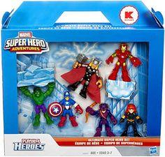 Marvel Super Hero Adventures, Exclusive Figures, Ultimate Super Hero Set [Hulk, Thor, Iron Man, Captain America, Hawkeye, and Black Widow], 6-Pack Playskool http://www.amazon.com/dp/B00MX6AN6K/ref=cm_sw_r_pi_dp_dVlqwb0NER68S