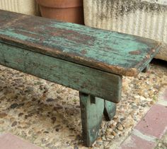 red and green furniture Antique Pine Furniture, Antique Bench, Green Furniture, Primitive Furniture, Country Furniture, Refurbished Furniture, Paint Furniture, Rustic Wood Bench, Barn Wood