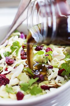 Asian Cranberry Almond Salad + Sesame Dressing ~ Crunchy Asian chopped salad with tangy dried cranberries, sliced almonds, cilantro, and a 2-minute homemade sesame dressing!