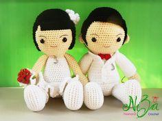 Find more item at https://www.facebook.com/nizafreehandcrochet  #crochet #dolls #bride #groom #wedding #gifts #human #couple #hook #yarn #acrylic #anniversary #cheerful #sweet
