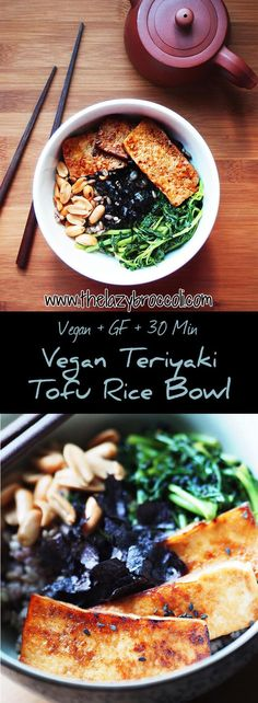This vegan teriyaki tofu rice bowl makes a healthy and well-balanced meal - perfect for lunch or dinner! It's easy plus it's sooo delicious! You have to try it! #vegan #vegetarian #tofu #teriyaki #spinach #peanuts #rice #bowl