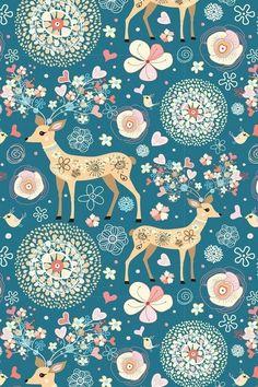 Deer, flower, snowflake doilie art pattern wallpaper
