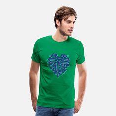 IT Herz Männer Premium T-Shirt   Spreadshirt Baseball T Shirts, Header Design, Nerd, Pullover, Current Mood, Unisex, Pugs, Joggers, Pajamas