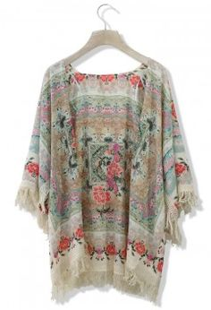 Boho Floral Fringe Kimono - Outers - Retro, Indie and Unique Fashion