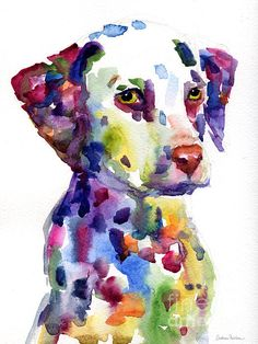 This original colorful painting of dalmatian dog puppy was painted with watercolors on paper. Copyright Svetlana Novikova. Prints are available on gallery wrapped canvas, metal, acrylic, archival paper, cards, framed and unframed, etc. This vibrant print would make a great gift for any dalmatian dog lover. Thank you for looking! Prints start at $27