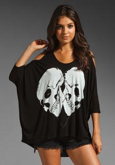 Lauren Moshi Macy Skull Heart Open Shoulder Top in Black