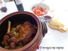 Μπουτάκι αρνίσιο με πατάτες στη γάστρα