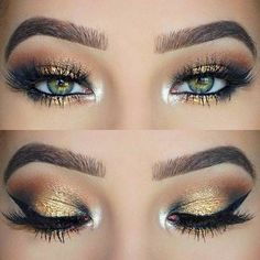 fard a paupiere yeux vert, ombre yeux en marron doré