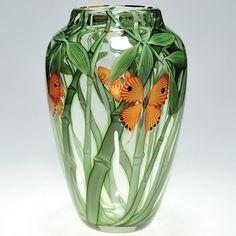 "698: Orient & Flume,butterfly vase, 11"" : Lot 698"
