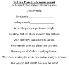 Spice up your concert introductions with this Welcome Poem