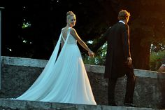Beatrice Borromeo in custom Armani Privé - Beatrice Borromeo and Andrea Casiraghi religious wedding reception