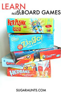 Use board games like Guess Who, Kerplunk, Zingo, and more in learning  extension activities: math, literacy, and educational ideas based on your child's interests. Perfect for homeschooling, classroom, and home extension activities.