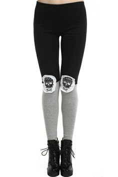 """Dual-tone """"Skull"""" Black-grey Leggings. Description Black-grey leggings, featuring an elastic waist, dual-tone color, black color mainly design on upper, while grey colored lower body, skull print on both laps. Fabric Cotton. Washing 40 degree machine wash, do not bleach, do not tumble dry, cool iron on reverse, do not dry clean. #Romwe"""