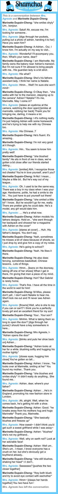 A conversation between Marinette Dupain-Cheng and Mrs. Agreste