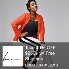 Lane Bryant Coupon- Take 40% OFF $250+ w/ Free Shipping Take 40% OFF $250+ w/ Free Shipping! (5/10 @ 12am PDT - 6/1 @ 12am PDT) Brought to you by http://www.imin.com and http://www.imin.com/store-coupons/lane-bryant/