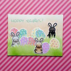 """An Easter card using the """"Hoppy Easter"""" mini stamp set from """"Lawn Fawn""""."""