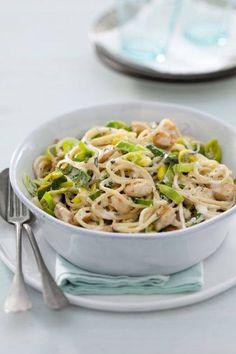 Spaghetti met Kip & prei.  Boodschappenlijstje: 300 g spaghetti 2 el olijfolie 300 g kipfilet, in blokjes 800 g prei, in ringen 200 g crème fraîche 100 g blauwaderkaas, verkruimeld 2 tl gedroogde rozemarijn  Kook de spaghetti en bak de kipblokjes bruin. Voeg de prei toe en bak in 5 min. zacht. Schep er de crème fraîche met de kaas en de rozemarijn door. Giet de spaghetti af en vang een kopje kookvocht op. Schep de spaghetti door de prei en voeg wat kookvocht toe. Vervolgens peper en zout…