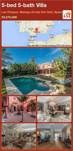 Villa for Sale in Las Chapas, Malaga (Costa Del Sol), Spain with 5 bedrooms, 5 bathrooms - A Spanish Life Murcia, Marbella Malaga, Fitted Bathroom, Malaga Spain, Open Fireplace, Lush Garden, Study Office, Guest Bedrooms, Beautiful Gardens