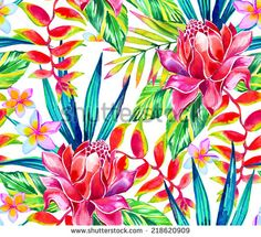 seamless jungle tropic pattern with tropical flowers and leaf - stock photo