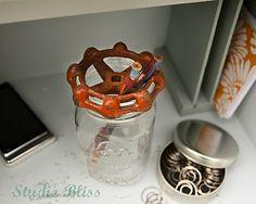 water spigot & mason jar pencil holder