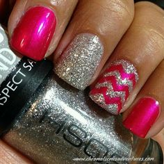 Image via Metallic chrome nails art Image via Pink nail art and silver stripes Image via Ideas and Tips for Acrylic Silver Nails with Glitter Image via Reasons To Shower Y Silver Nail Art, Pink Nail Art, Metallic Nails, Cute Nail Art, Pink Nails, Silver Glitter, Glitter Nails, Sparkly Nails, Pink Sparkly