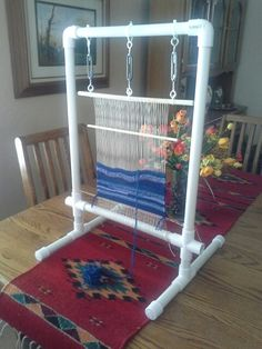 Weaving begun on my pvc pipe loom from Kathy Robbins