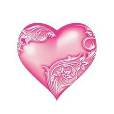 Heart Scroll Light Hot Pink w White Heart Sticker