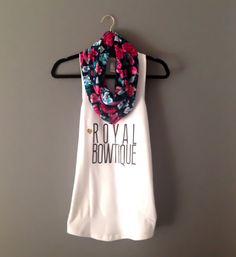 Royal Bowtique White Racerback Tank by TheRoyalBowtiqueShop, $20.00 --- FLORAL KNIT INFINITY SCARF IS AVAILABLE TOO!!
