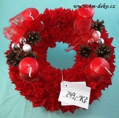 Vypichovaný látkový adventní věnec červený. Ornament Wreath, Ornaments, Christmas Wreaths, Holiday Decor, Home Decor, Decoration Home, Room Decor, Christmas Decorations, Home Interior Design