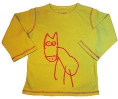 T-shirt enfant taille 2 ans vert anis dessin loup, en coton bio équitable #tshirtenfantloup
