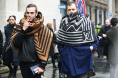 more Louis Vuitton... basically it's blankets as scarves. good because it's just bloody freezing. keep warm and look good doing it. it works. totes something i'd do. anyway... outside the men's shows.