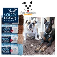"""Soggy Doggy Doormats® can be used as crate liners, dog beds, bath mats, car seat covers, auto floor mats. So many ways to use them. These doormats absorb 5X their weight in water. They are quick-drying, remain odor and bacteria free and have a non-slip backing. The smaller size can be used as a Slopmat for extra large dogs. Available in 2 sizes: 26"""" x 36"""" (66cm x 91cm)  and 26"""" x 36"""" (91cm x 152cm)"""