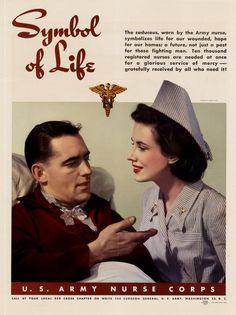 """""""Symbol of Life"""", a U.S. Army Nurse Corps recruiting poster, via flickr.com/photos/raycadaster"""