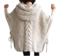 Tweed beige hand knitted hooded poncho This poncho is hand knit with cable knitting pattern. It is made with alpaca yarn. It has a hood. You can wear it on you. Crochet Poncho, Hand Crochet, Hand Knitting, Cable Knitting, Knitting Needles, Crochet Top, Oversized Cardigan, Knit Cardigan, Loose Sweater