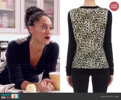 Rainbow's navy blue cardigan with leopard print back on Black-ish. Outfit Details: http://wornontv.net/45793/ #Blackish