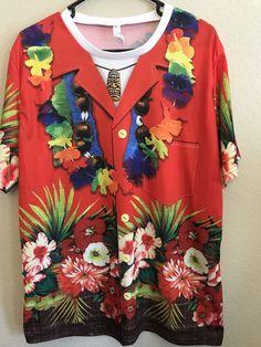 38ae975c Men's Size Large Shirt Hawaiian Tiki Lei Printed Nylon T-Shirt Bright Fun  #Amscan
