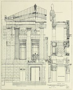 Construction plan details for the Museum of Fine Arts, Boston