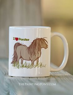I Love Ponies Ceramic Mug - cute pony lover coffee mug - comes in 11 and 15 ounce sizes. great gift for the horse lover equestrian